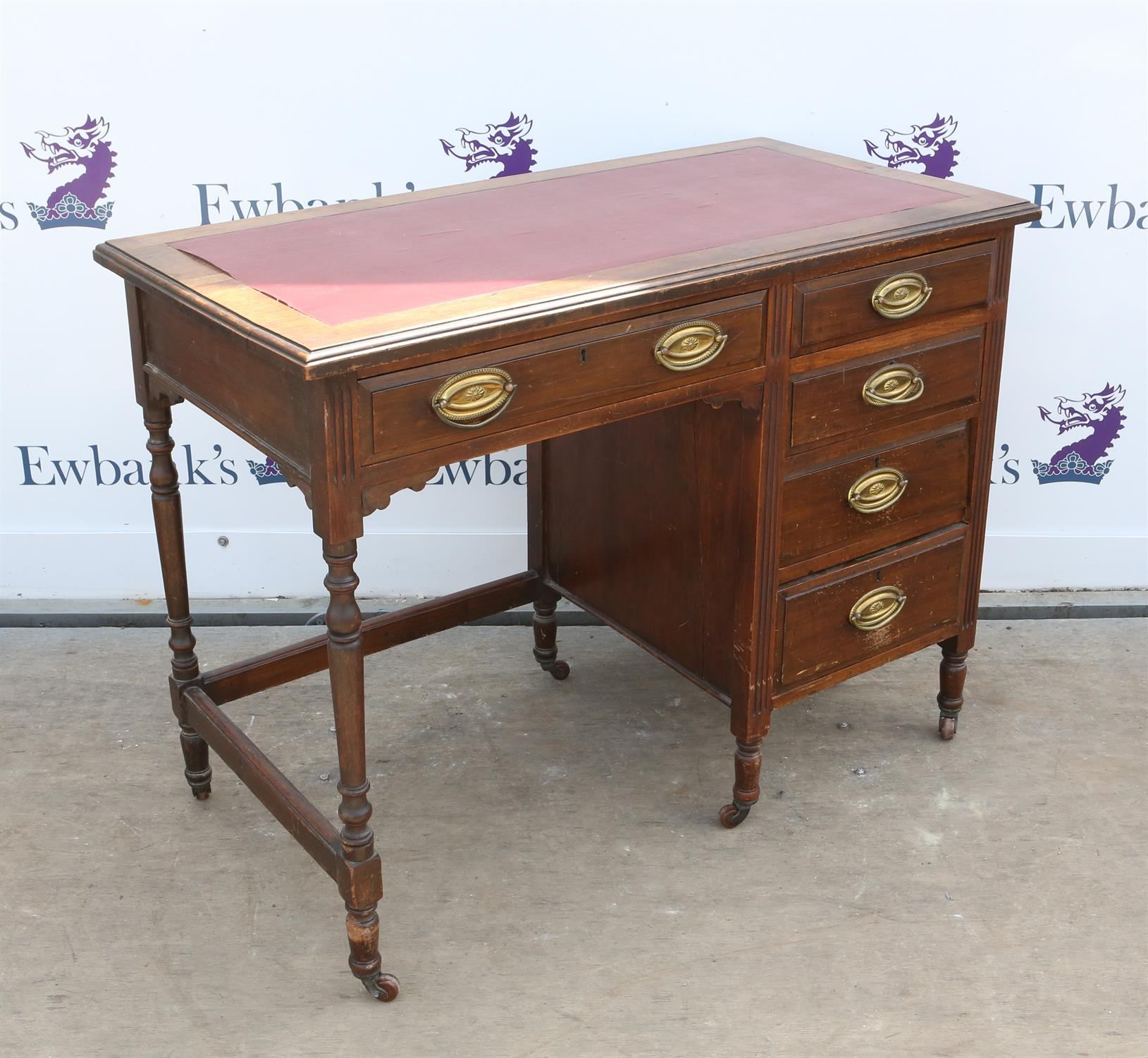 Early 20th century Maple & Co walnut desk, with five drawers on turned supports, H74 x W99 x D51cm - Image 2 of 2