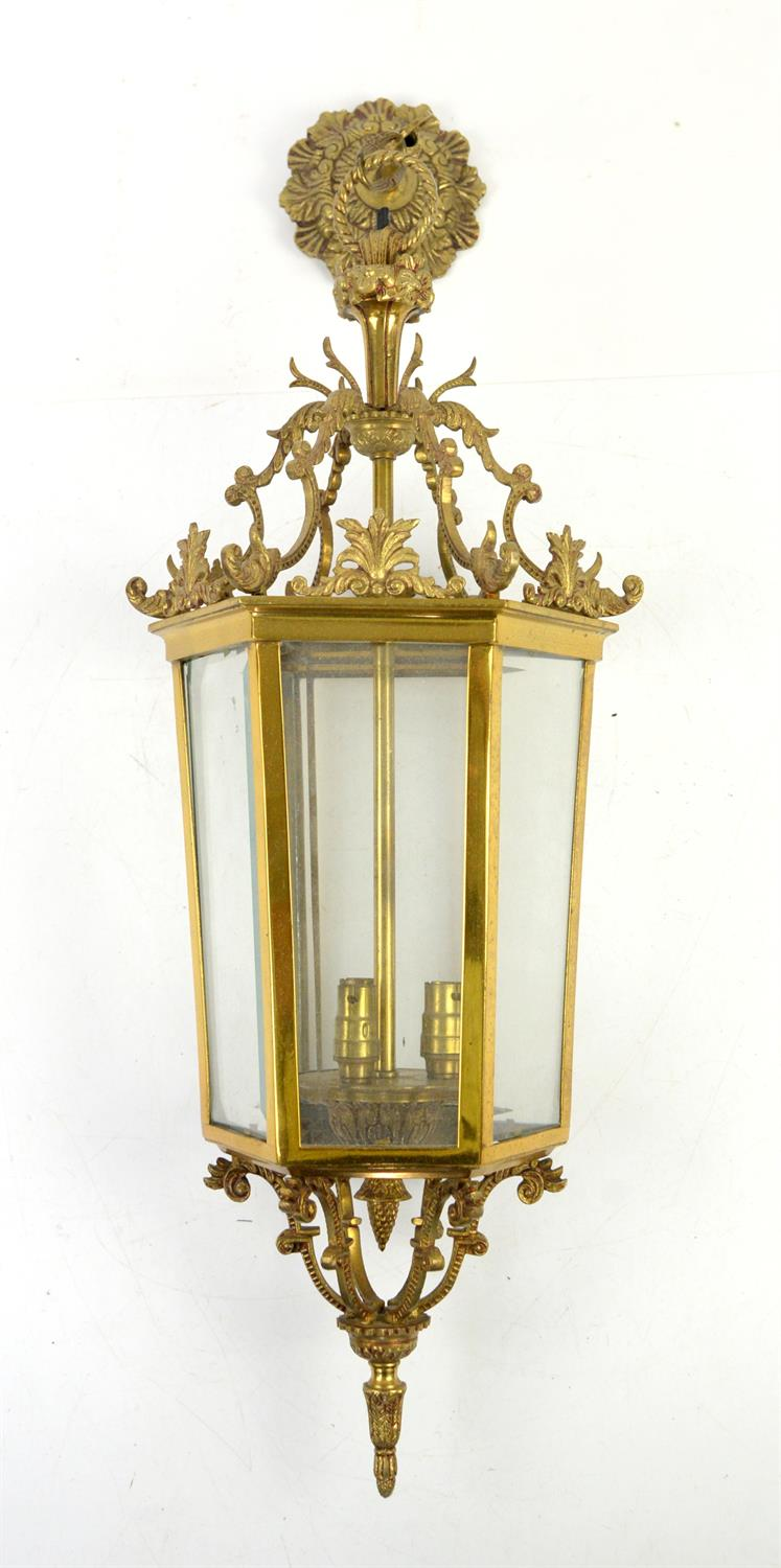 Brass ceiling hanging lantern of hexagonal section with scroll decoration - 74 cm
