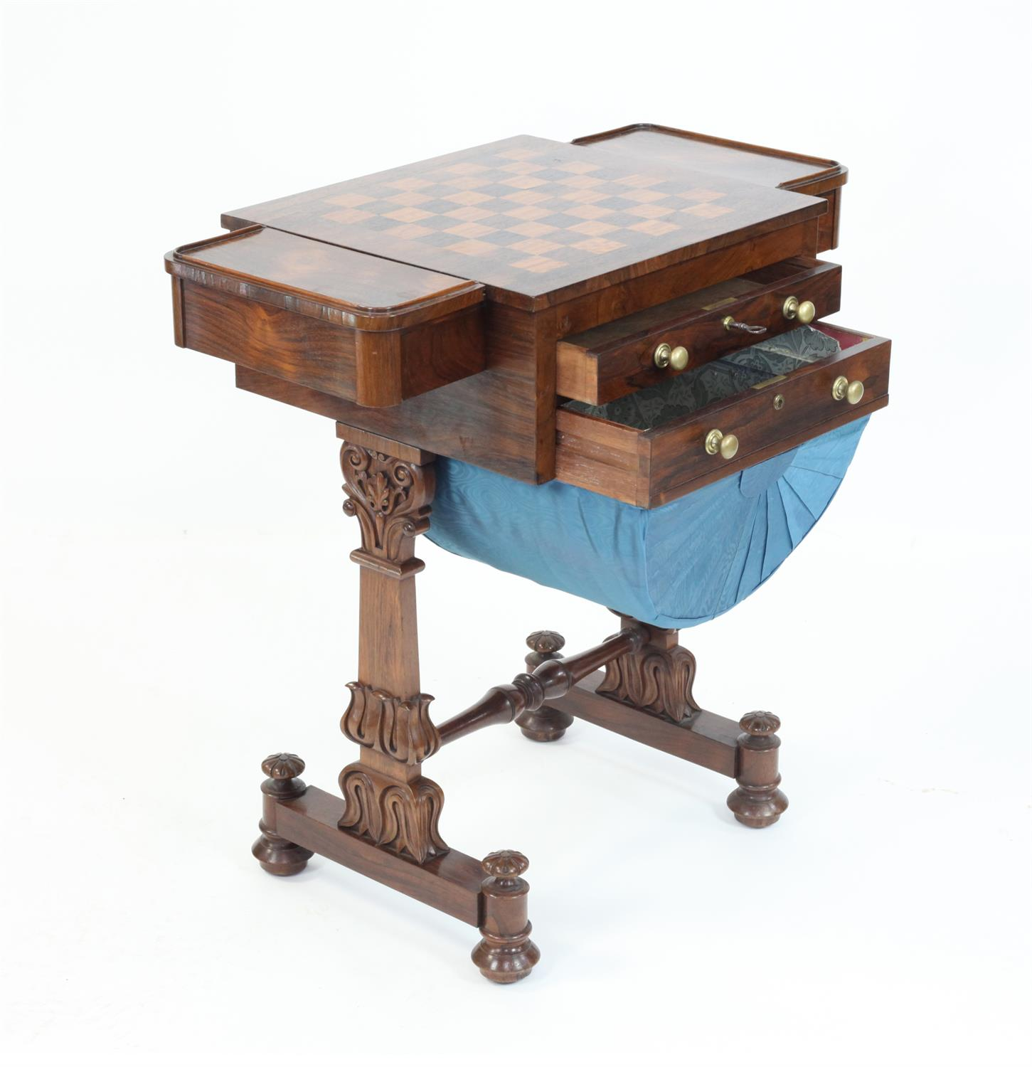 Early 19th Century rosewood games and work table with chessboard top flanked by drawers over - Image 3 of 5
