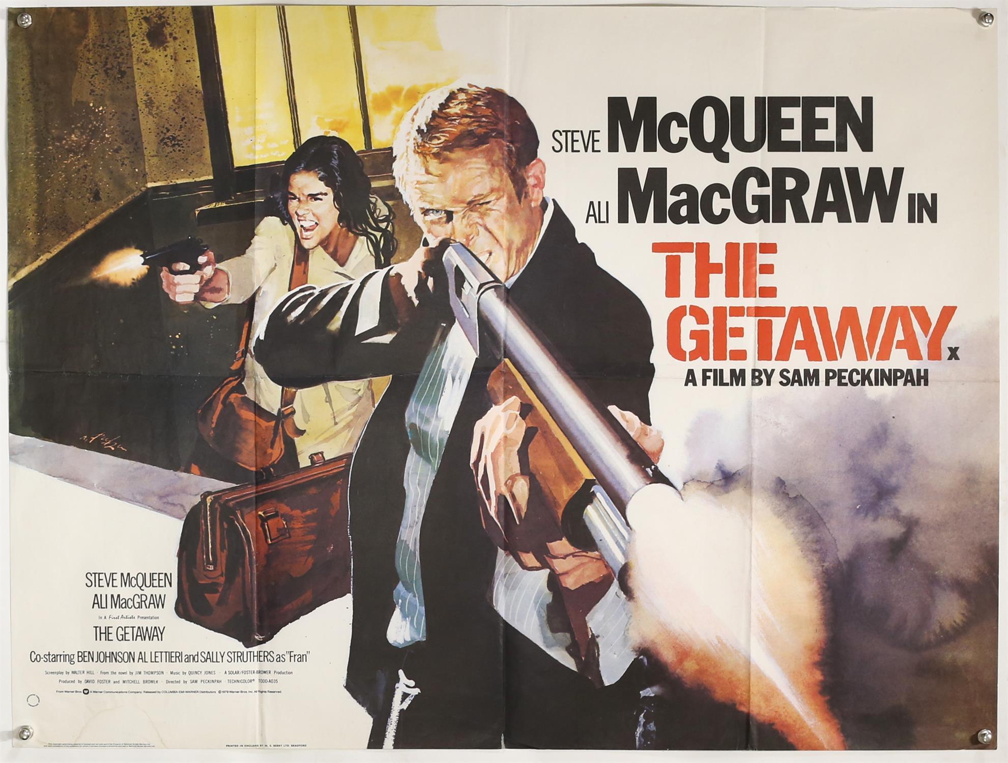The Getaway (R-1979) British Quad film poster, artwork by Arnaldo Putzu, starring Steve McQueen,