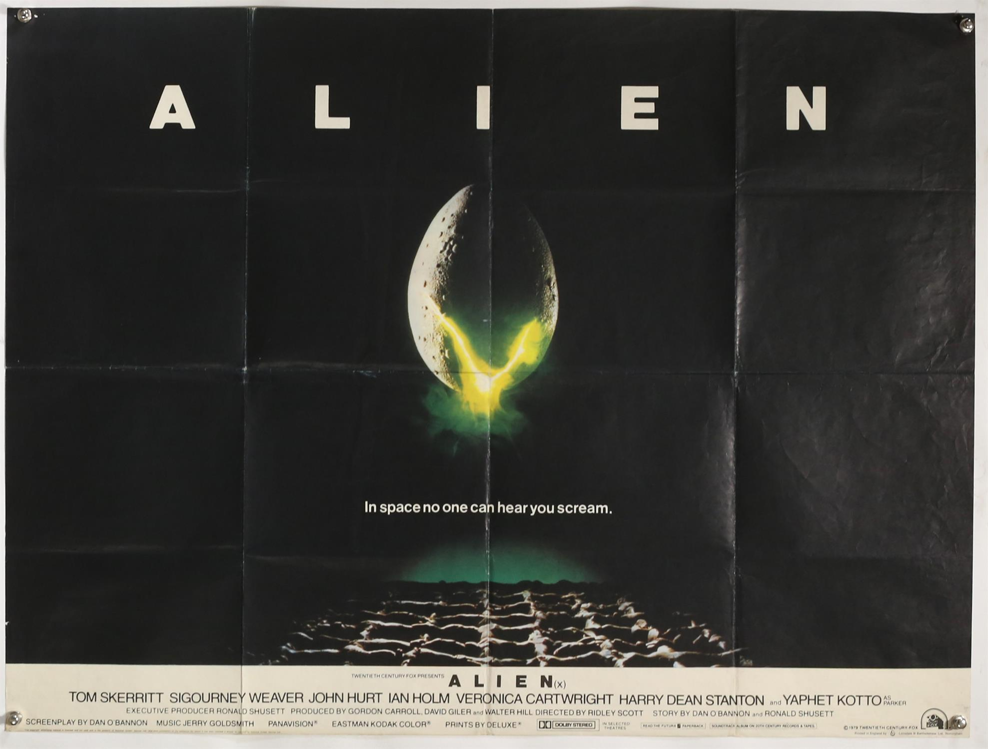 Alien (1979) British Quad film poster, Sci-Fi directed by Ridley Scott, folded, 30 x 40 inches.