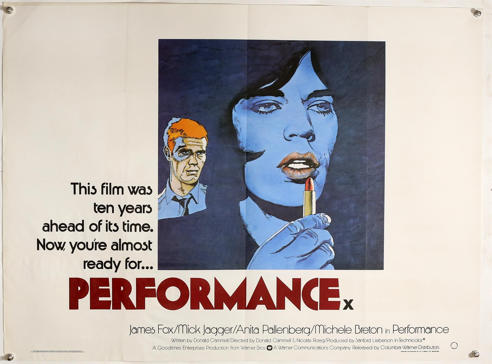 Performance (R-1979) British Quad film poster, rare design, starring Mick Jagger with artwork by