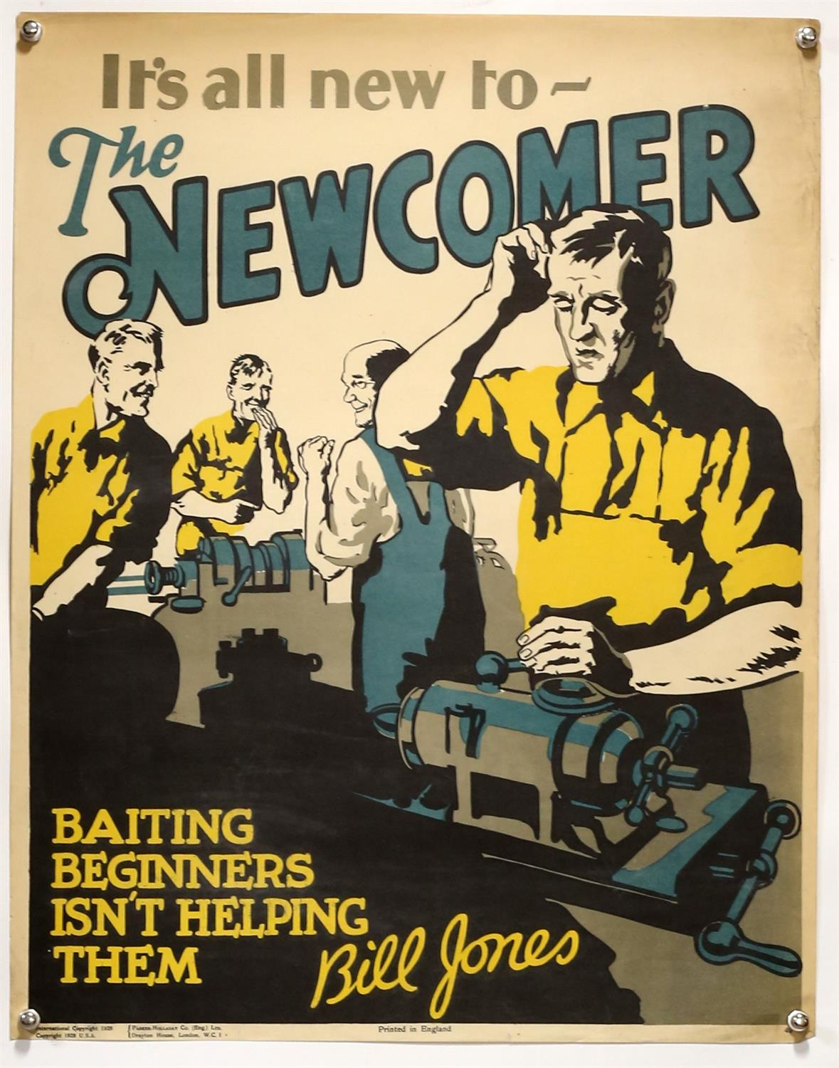 'It's all new to the Newcomer' - Original Vintage information poster by Bill Jones,