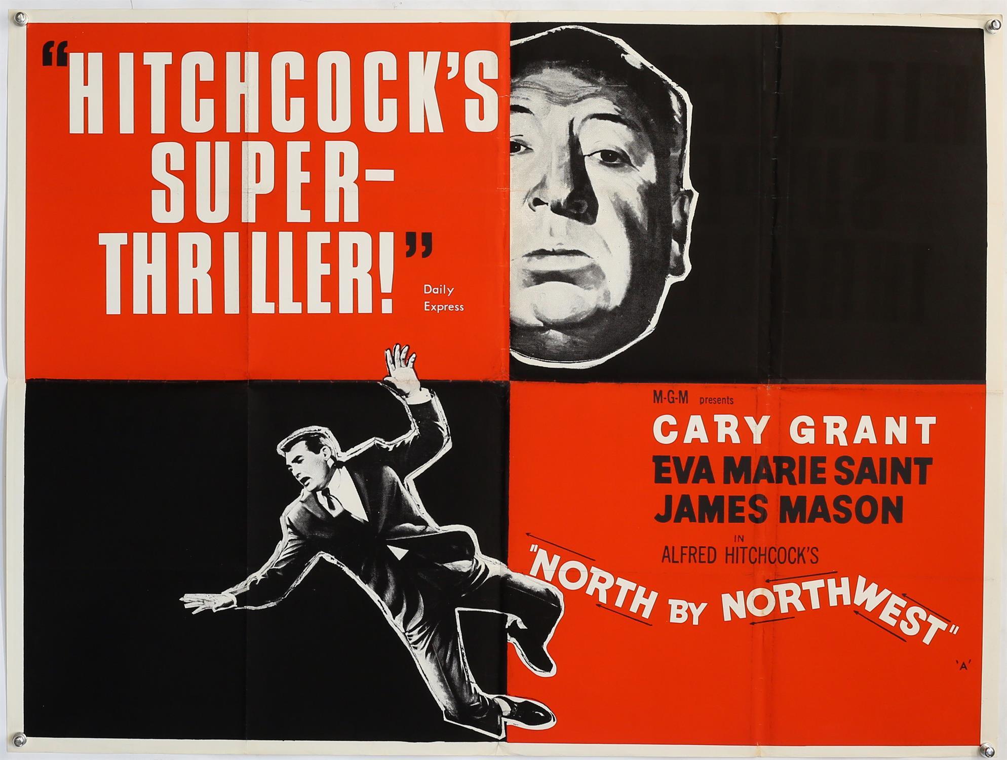 Alfred Hitchcock's North by Northwest (1960's) British Quad film poster