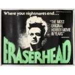 Eraserhead (1977) British Quad film poster, Horror film by David Lynch, linen backed,