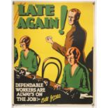 'Late Again!' - Original Vintage information poster by Bill Jones, Printed in England,