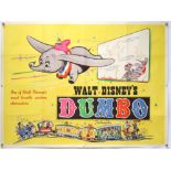 Walt Disney's Dumbo (R-1950's) British Quad film poster, folded, 30 x 40 inches.