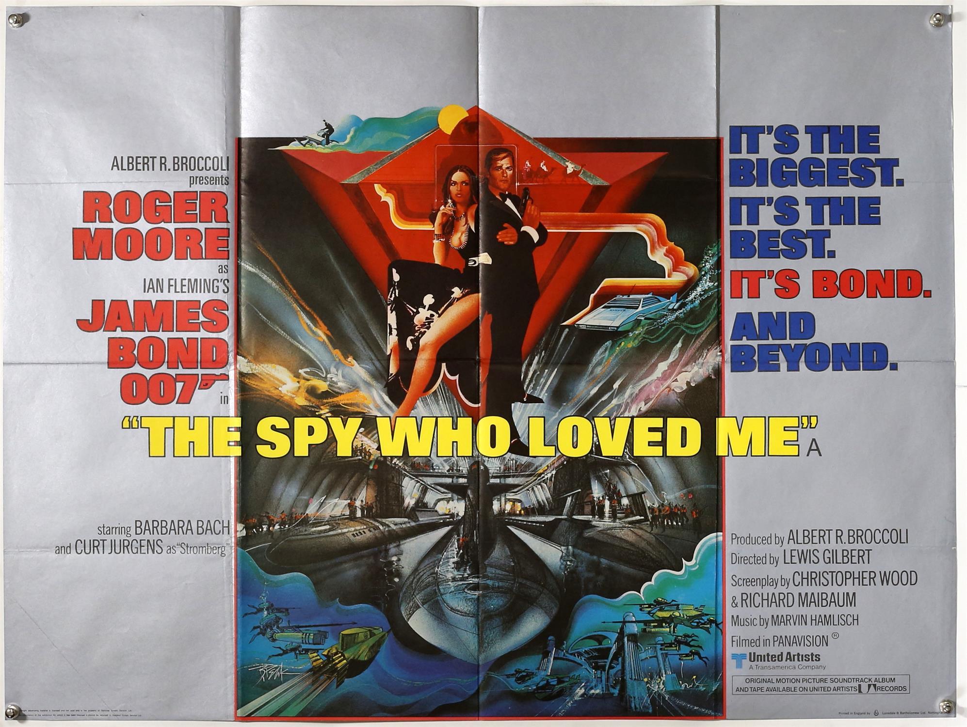 James Bond The Spy Who Loved Me (1977) British Quad film poster, artwork by Bob Peak, folded,