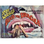 Andy Warhols Blood For Dracula (1974) British Quad film poster, folded, 30 x 40 inches.