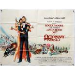 James Bond Octopussy (1983) British Quad film poster, starring Roger Moore, United Artists, folded,