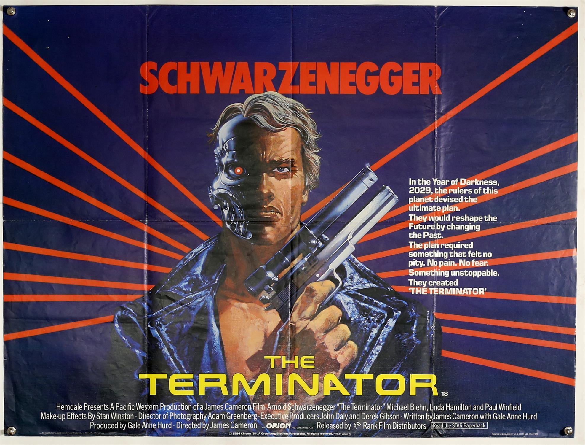 Terminator (1984) British Quad film poster, starring Arnold Schwarzenegger, art by Mike Francis,