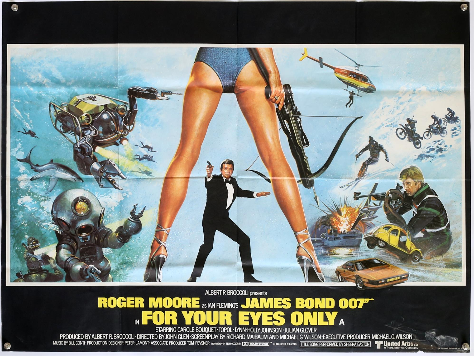 James Bond For Your Eyes Only (1981) British Quad film poster, starring Roger Moore,