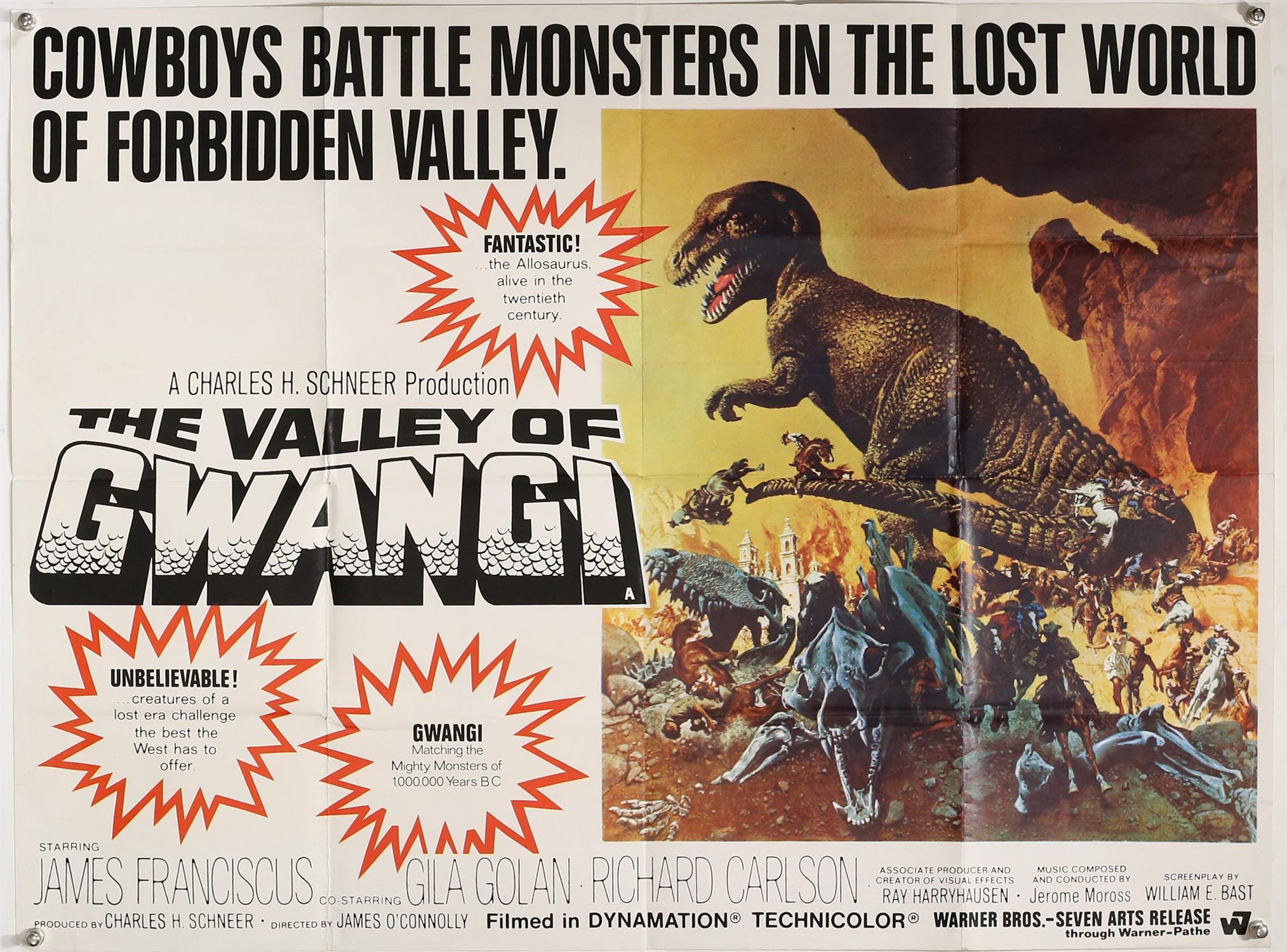 The Valley of Gwangi (1969) British Quad film poster, visual effects by Ray Harryhausen,