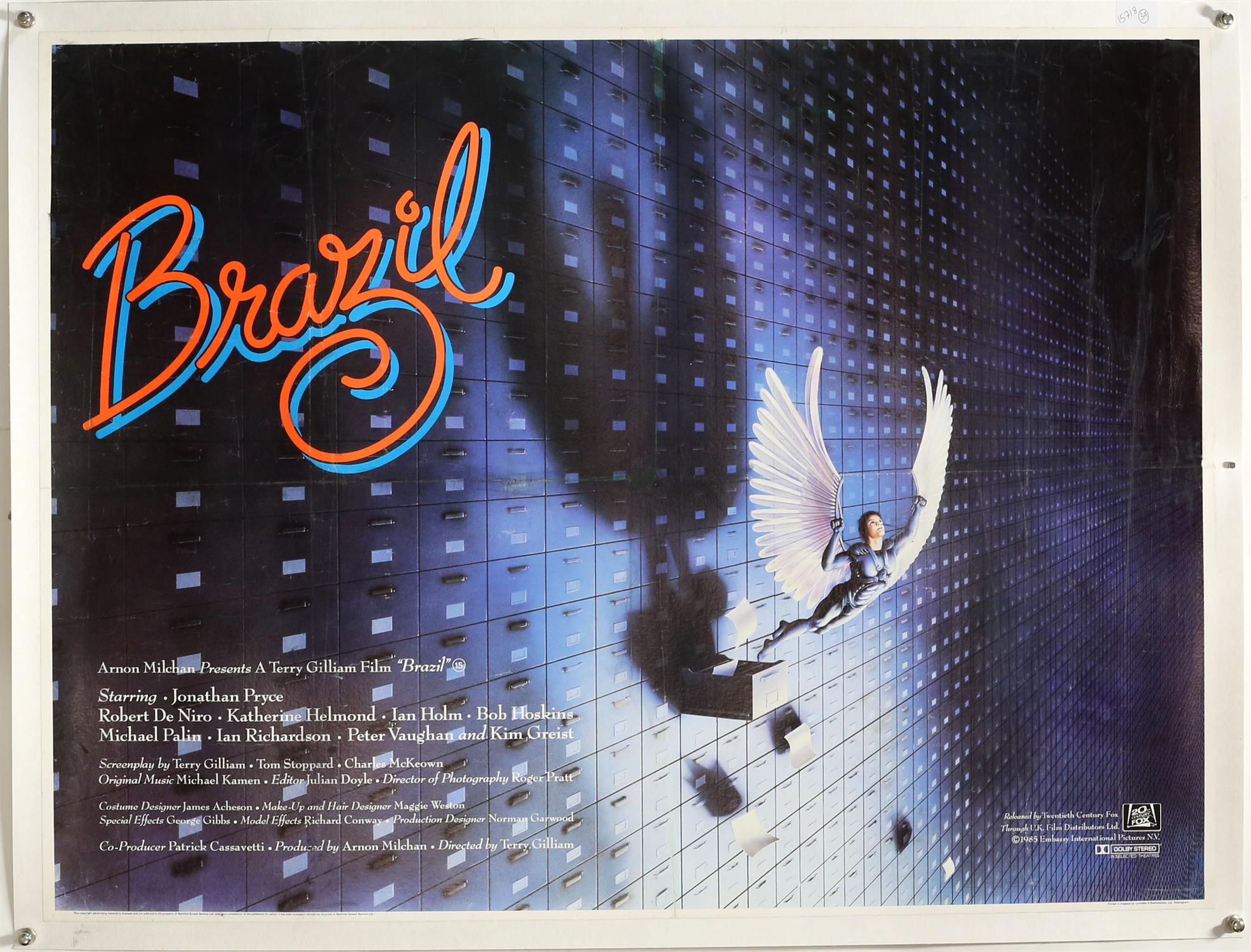 Brazil (1985) British Quad film poster, rare 'withdrawn' design after a fall out between Terry