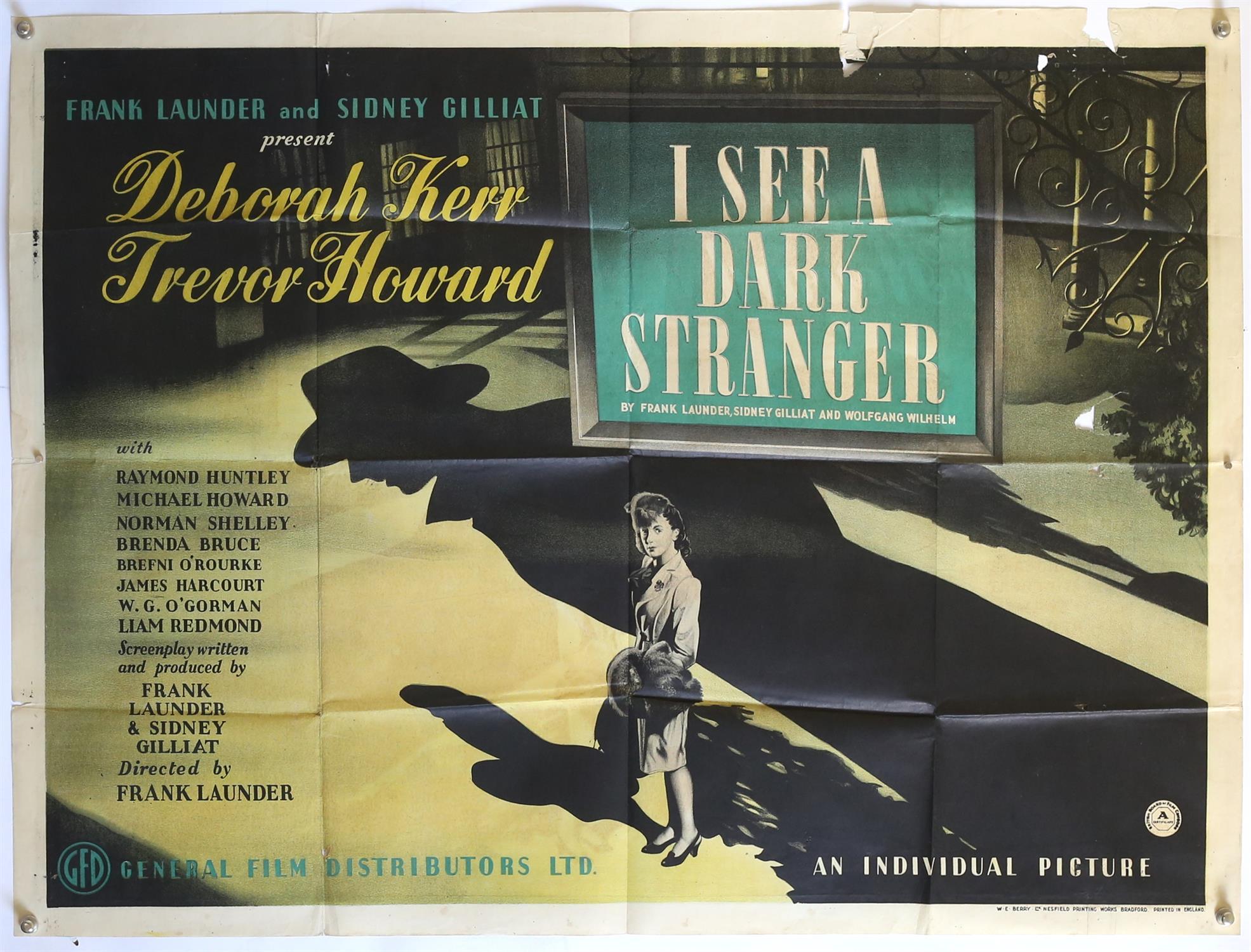 I See a Dark Stranger (1946) British Quad film poster, starring Deborah Kerr and Trevor Howard,
