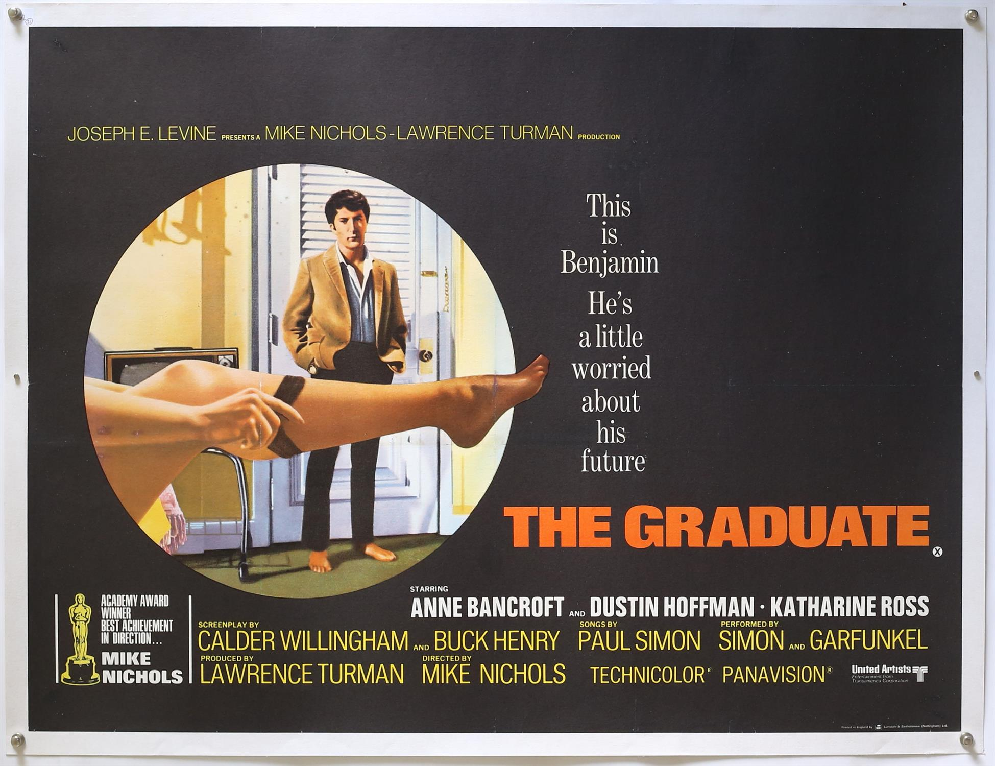 The Graduate (1967) British Quad film poster, starring Dustin Hoffman, linen backed, 30 x 40 inches.