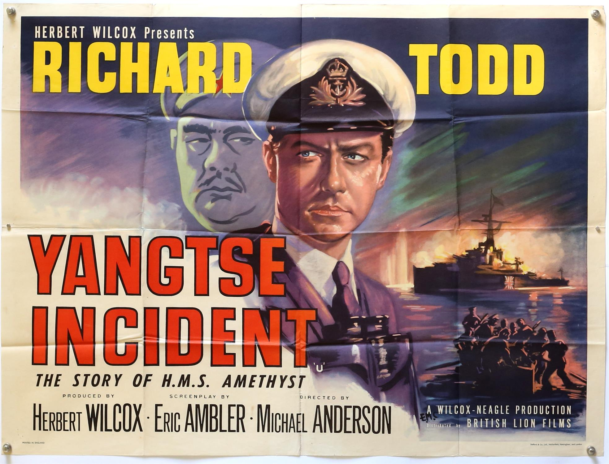 Yangtse Incident: The Story of H.M.S. Amethyst (1957) British Quad film poster, folded,