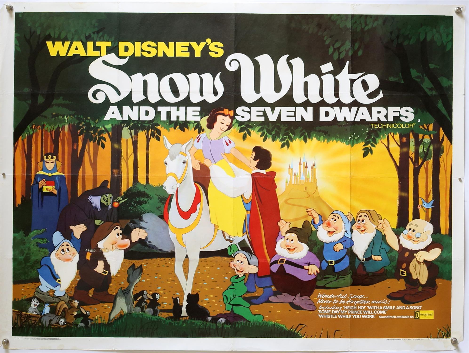 Walt Disney's Snow White and the Seven Dwarfs (1937) British Quad film poster, folded,
