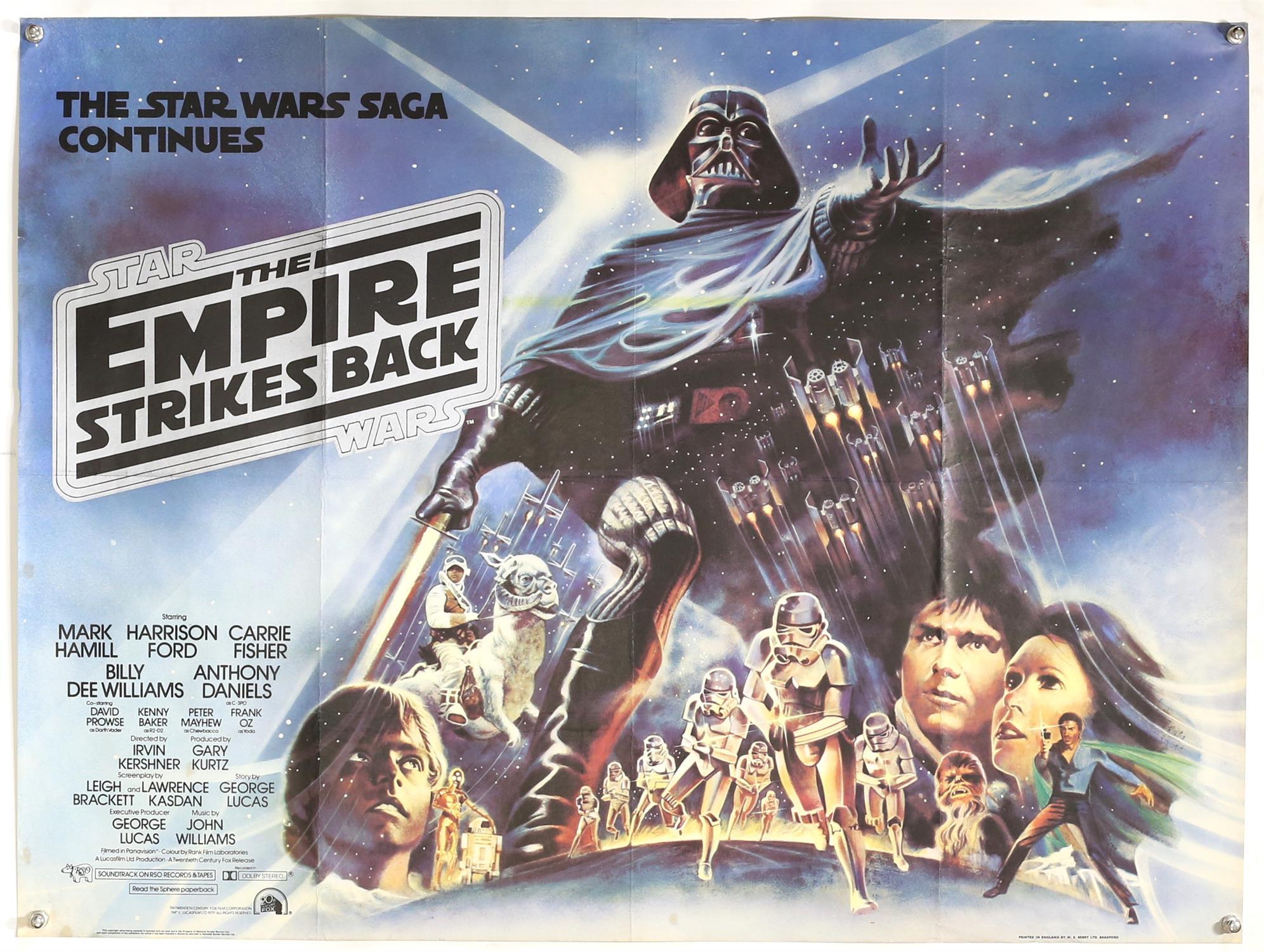 Star Wars The Empire Strikes Back (1980) British Quad film poster, artwork by Drew Struzan, folded,