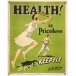 'Health is Priceless!' - Original Vintage information poster by Bill Jones, Printed in England,