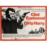 Dirty Harry (1970's) British Quad film poster, starring Clint Eastwood, White background style A