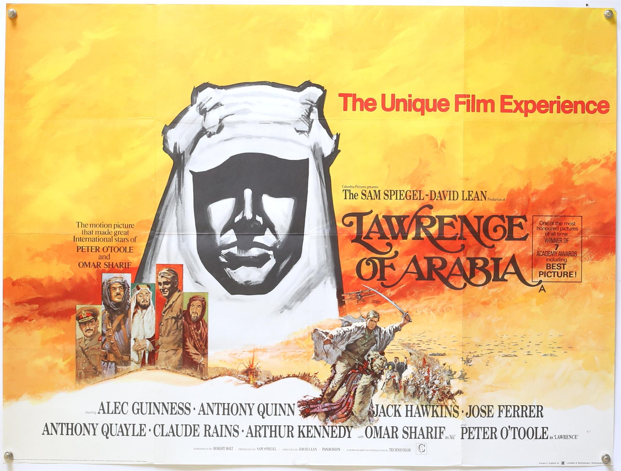 Lawrence Of Arabia (R-1971) British Quad film poster, starring Alec Guinness and Jack Hawkins,