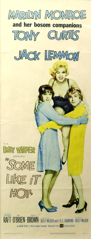 Some Like It Hot (1959) US Insert film poster, white style, starring Marilyn Monroe, framed, - Image 2 of 2