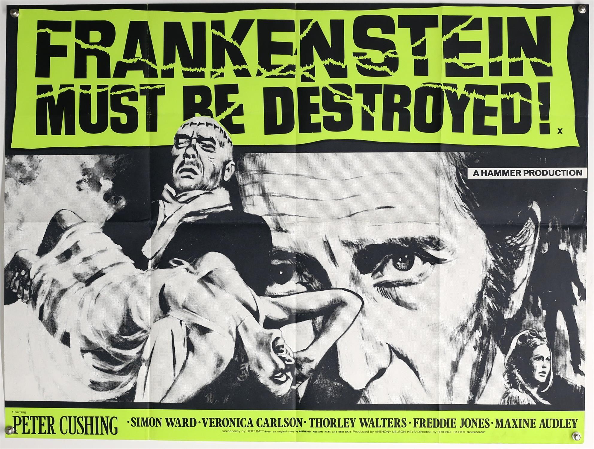 Frankenstein Must Be Destroyed (1970s) British Quad re-release film poster