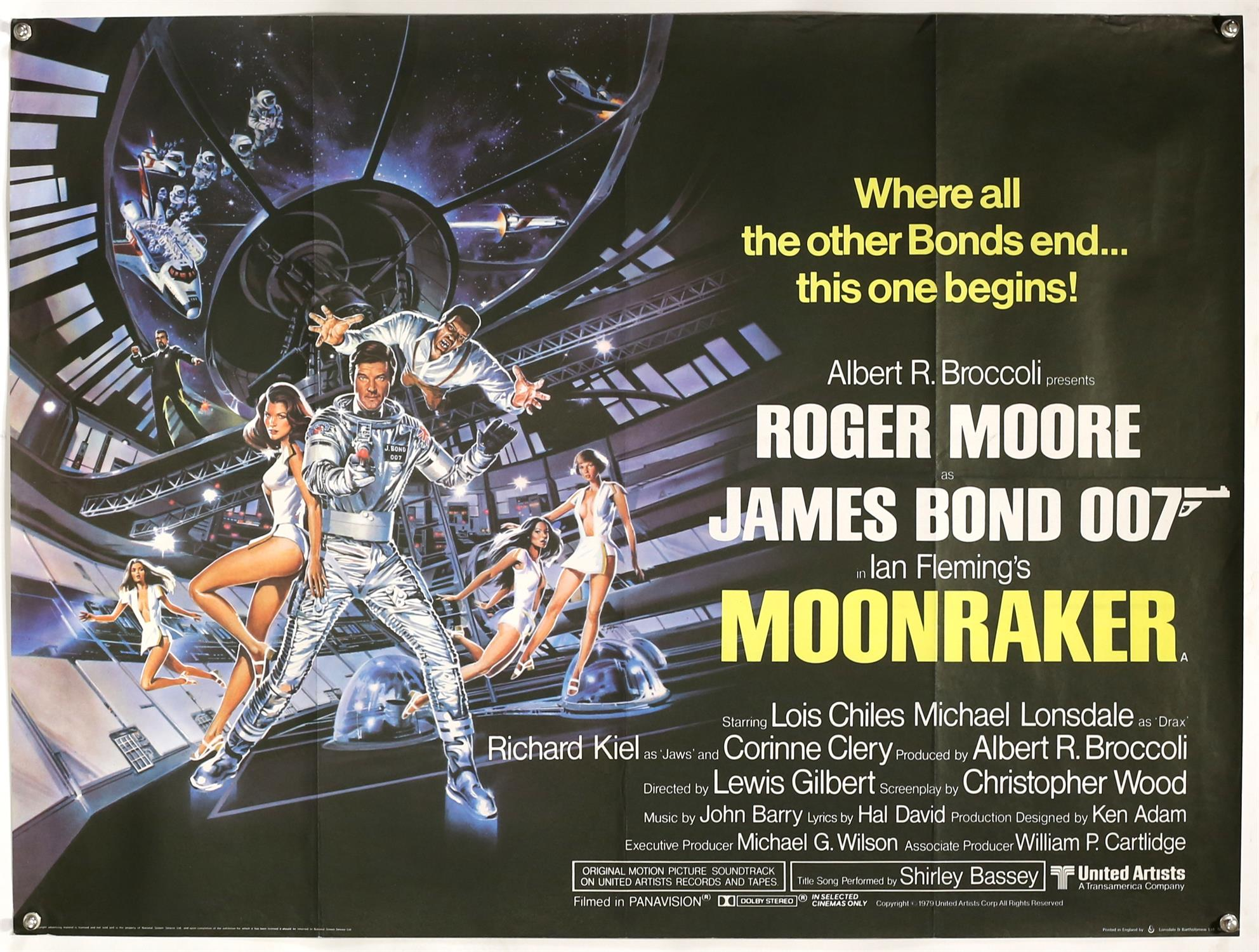 James Bond Moonraker (1979) British Quad film poster, starring Roger Moore, artwork by Dan Goozee,