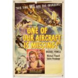 One of Our Aircraft Is Missing (1952) US One Sheet poster, folded, 27 x 41 inches.