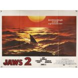 Jaws 2 (1978) British Quad teaser film poster, folded, 30 x 40 inches.