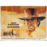 Pale Rider (1985) British Quad film poster, Western starring Clint Eastwood, folded 30 x 40 inches.
