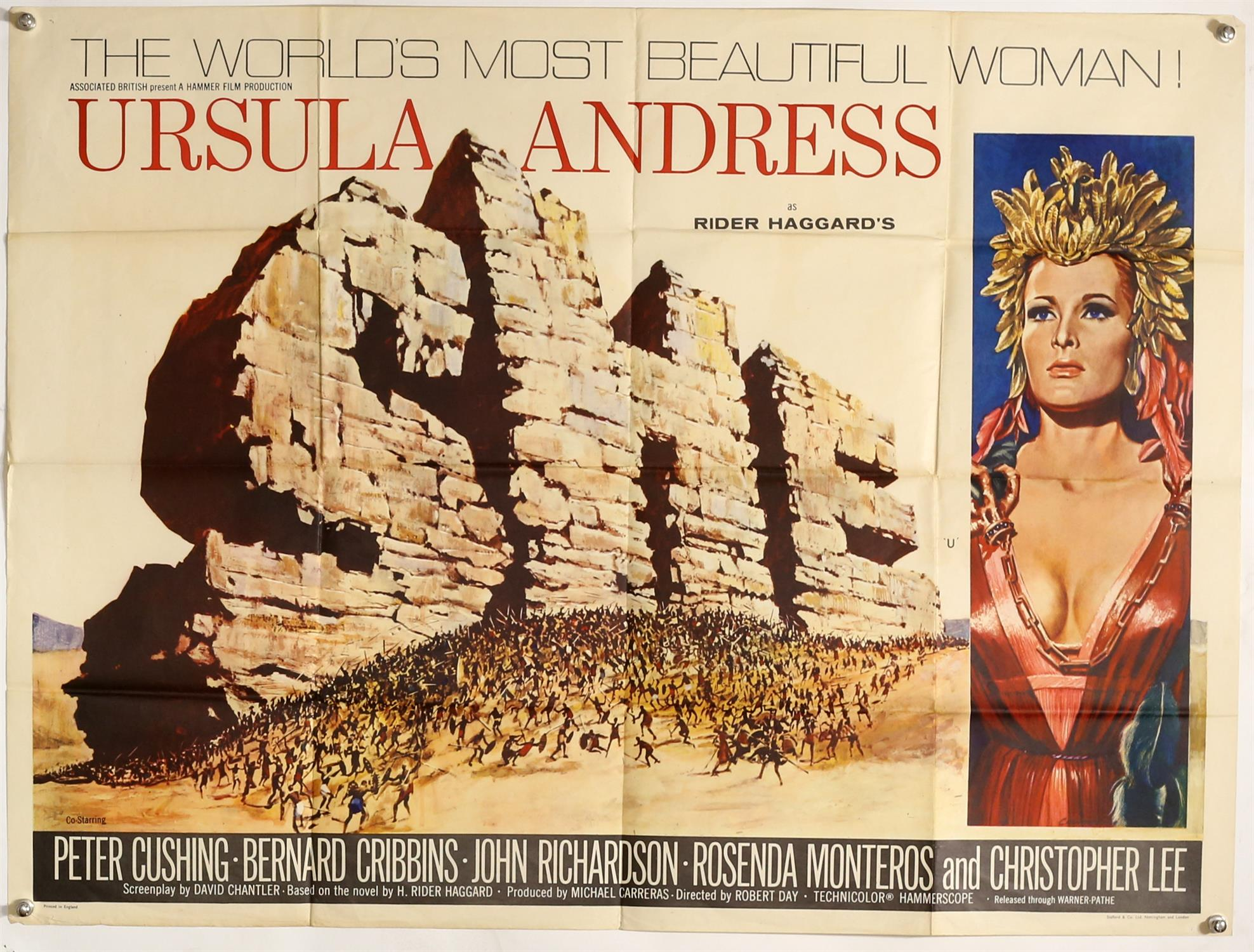 She (1965) British Quad film poster, Hammer Film Production starring Ursula Andress,