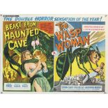 Beast From Haunted Cave / The Wasp Woman (1960) British Quad double bill film poster