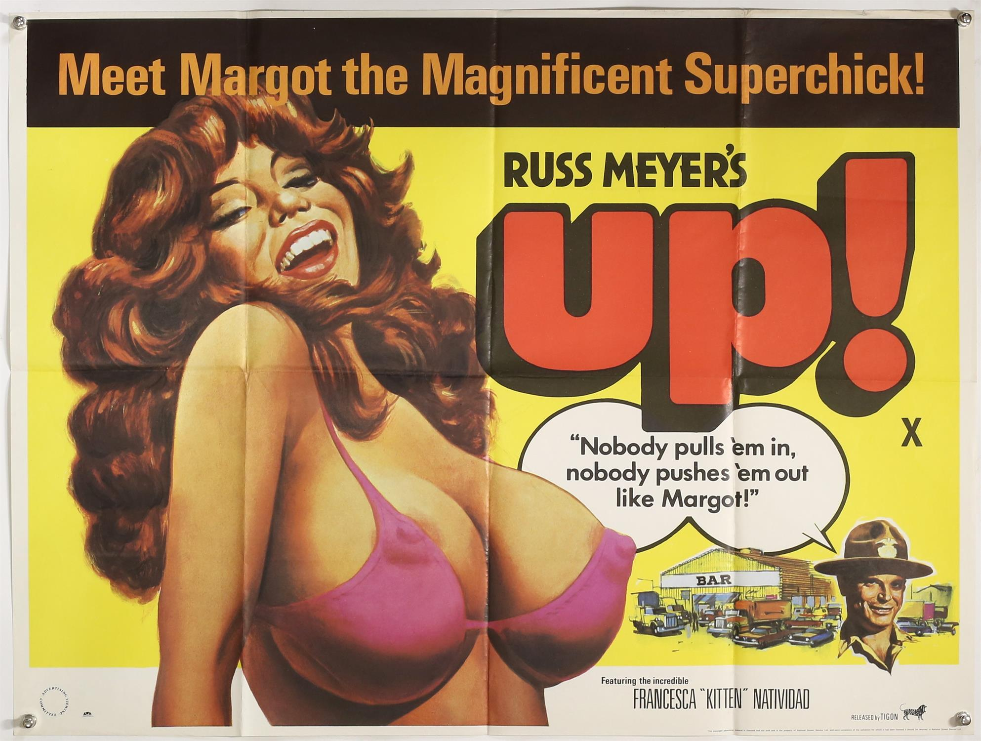 Russ Meyer's Up! (1976) British Quad film poster, Tigon, folded, 30 x 40 inches.