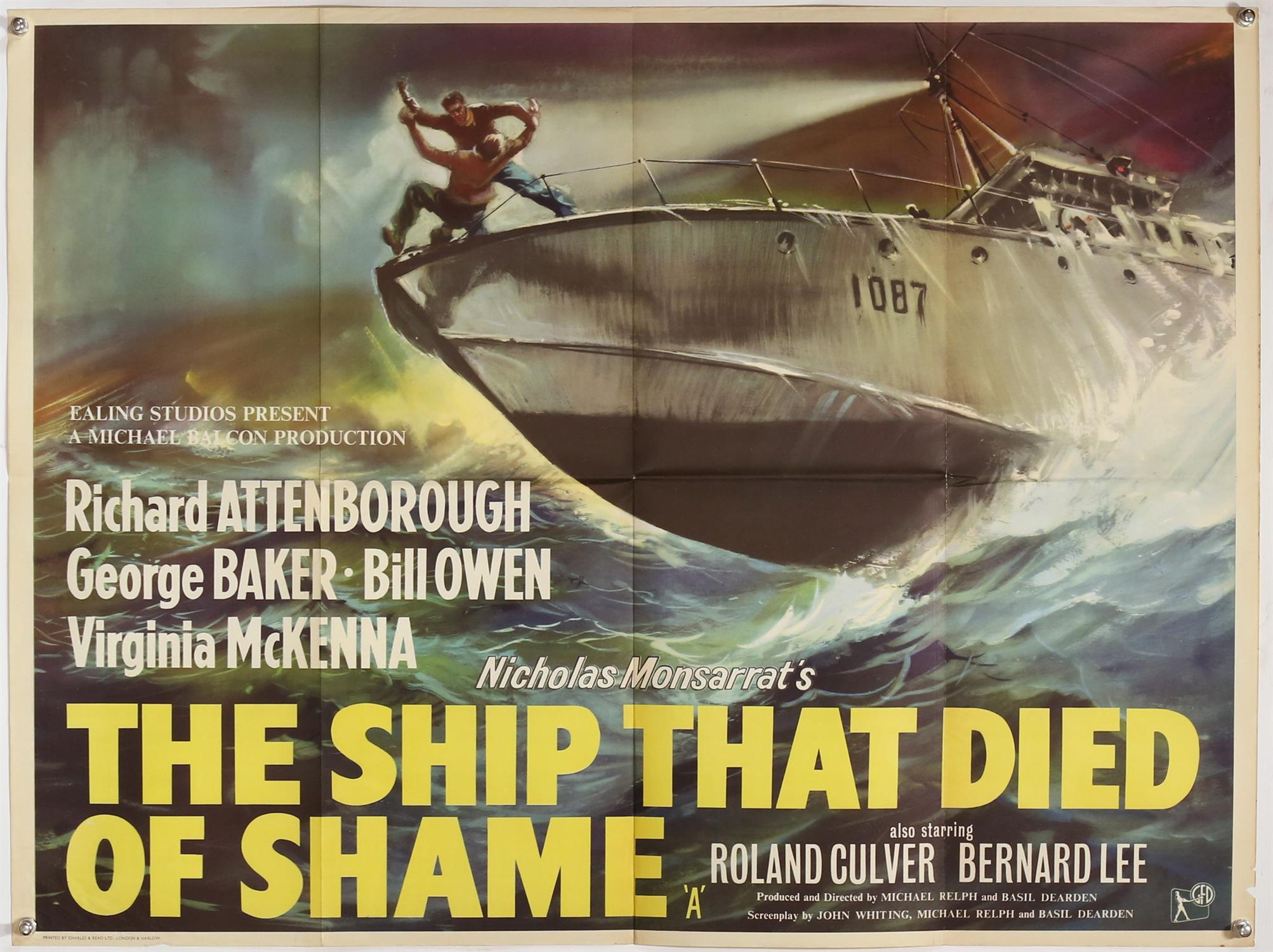 The Ship That Died of Shame (1955) British Quad film poster, Ealing Studios, folded, 30 x 40 inches.