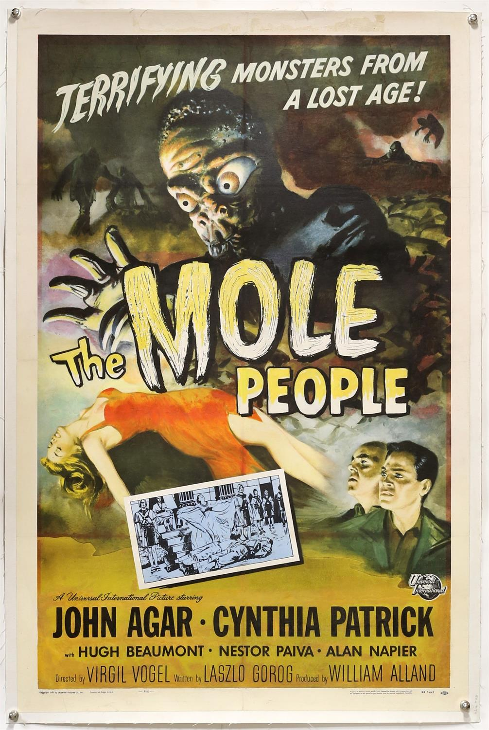 The Mole People (1956) US One Sheet film poster, artwork by Joseph Smith, linen backed,