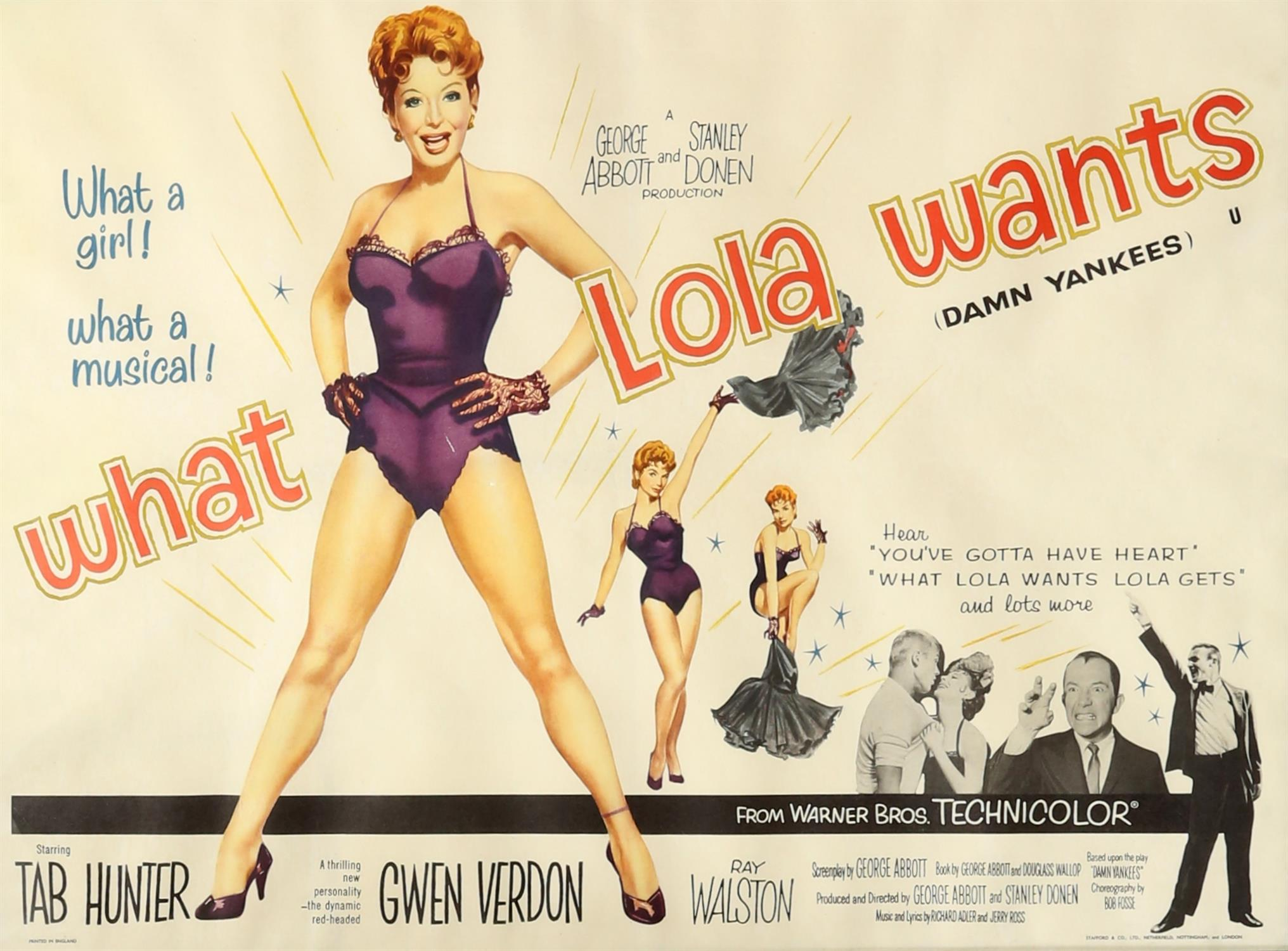 What Lola Wants (1958) British Quad film poster, directed by George Abbot and Stanley Donen,