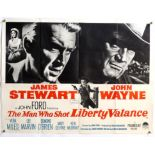 The Man Who Shot Liberty Valance (1962) British Quad film poster, Western starring John Wayne &