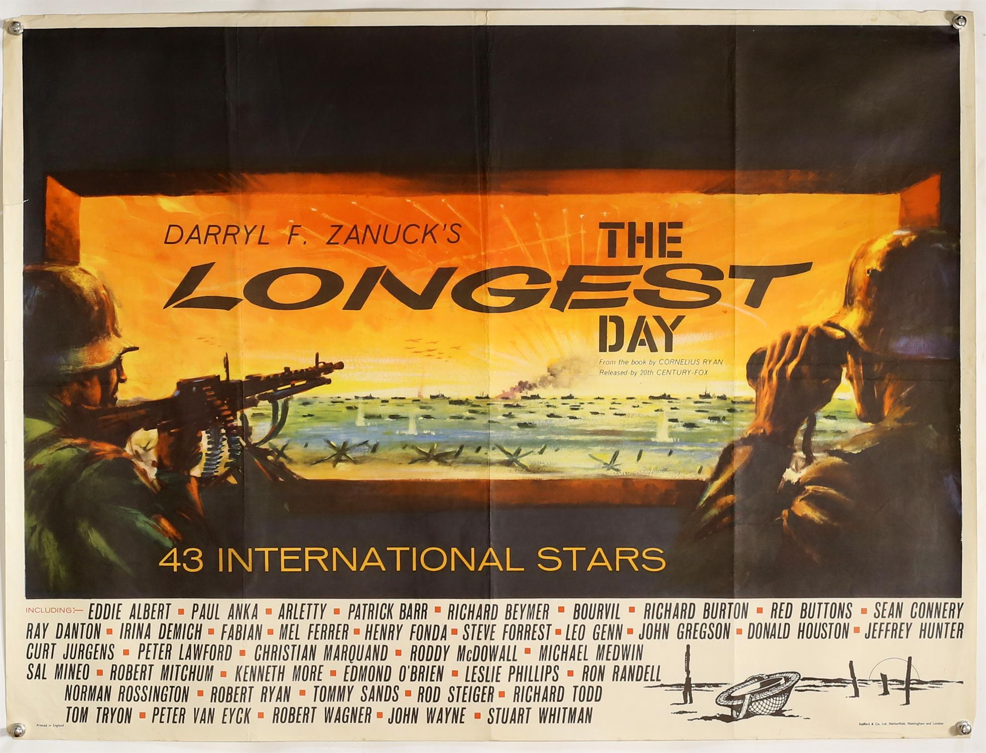 The Longest Day (1962) British Quad film poster, folded, 30 x 40 inches.