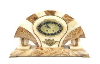 Art Deco marble mantel 8 day clock with oval arabic dial, French drum movement signed S.C.A.P.H.