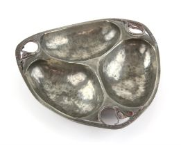 Serge Nekrassoff (Russian-American, 1895-1985), Art Nouveau style pewter hors d'oeuvres dish,