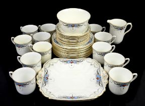 Shelley Art Deco tea set pattern 11572, comprising 12 cups, 9 saucers, 2 serving plates, cream jug,