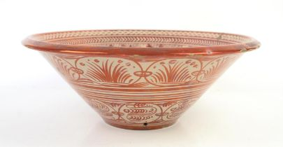 Large Cantagalli red copper lustre galleon and fish bowl, late 19th century, in the style of