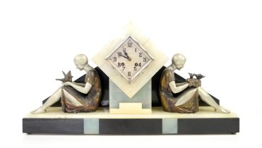 Art Deco clock inscribed Feunteun Brest, flanked either side by a spelter girl holding birds,