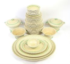 Crown Devon Fieldings dinner service pattern no 2966, the borders decorated in blue and green with