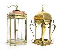Early 20th century brass hall lamp 43cm and a copper and brass hall lamp 34cm