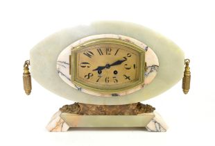 French marble Art Deco clock gilt metal mounted, drum movement signed E.M. Paris,