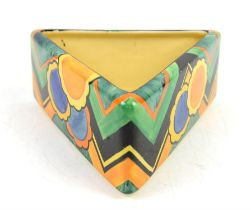 Susie Copper for Grays Pottery, an Art Deco triangular bowl, abstract floral and geometric design
