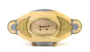 Art Deco marble and gilt metal 8 day mantel clock, French drum movement striking a bell on the hour